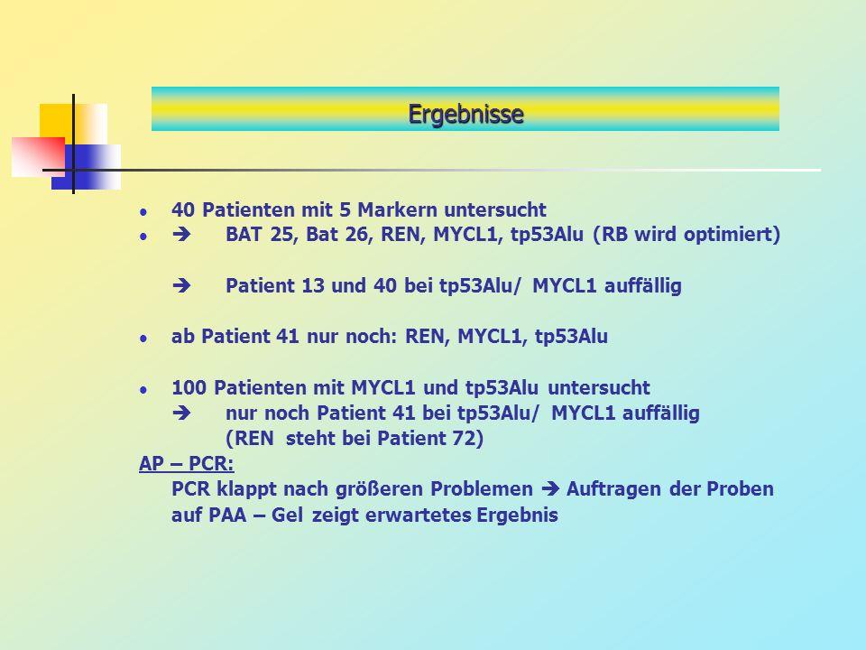 40 Patienten mit 5 Markern untersucht BAT 25, Bat 26, REN, MYCL1, tp53Alu (RB wird optimiert) Patient 13 und 40 bei tp53Alu/ MYCL1 auffällig ab Patien
