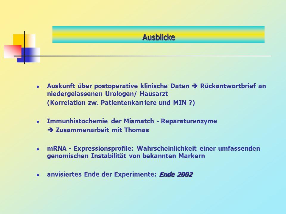 Ausblicke Auskunft über postoperative klinische Daten Rückantwortbrief an niedergelassenen Urologen/ Hausarzt (Korrelation zw. Patientenkarriere und M