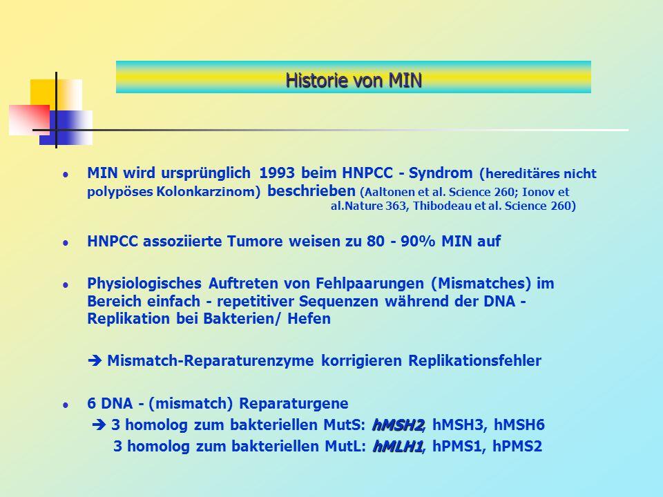Historie von MIN MIN wird ursprünglich 1993 beim HNPCC - Syndrom (hereditäres nicht polypöses Kolonkarzinom) beschrieben (Aaltonen et al. Science 260;