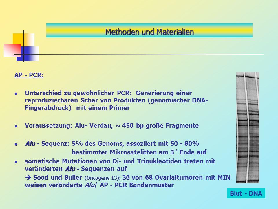 AP - PCR: Unterschied zu gewöhnlicher PCR: Generierung einer reproduzierbaren Schar von Produkten (genomischer DNA- Fingerabdruck) mit einem Primer Vo