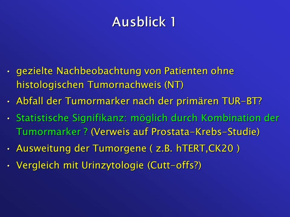 Ausblick 1 gezielte Nachbeobachtung von Patienten ohne histologischen Tumornachweis (NT)gezielte Nachbeobachtung von Patienten ohne histologischen Tum