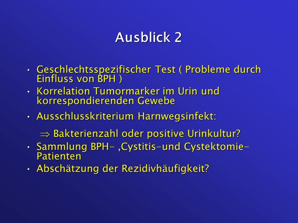 Ausblick 2 Geschlechtsspezifischer Test ( Probleme durch Einfluss von BPH )Geschlechtsspezifischer Test ( Probleme durch Einfluss von BPH ) Korrelatio