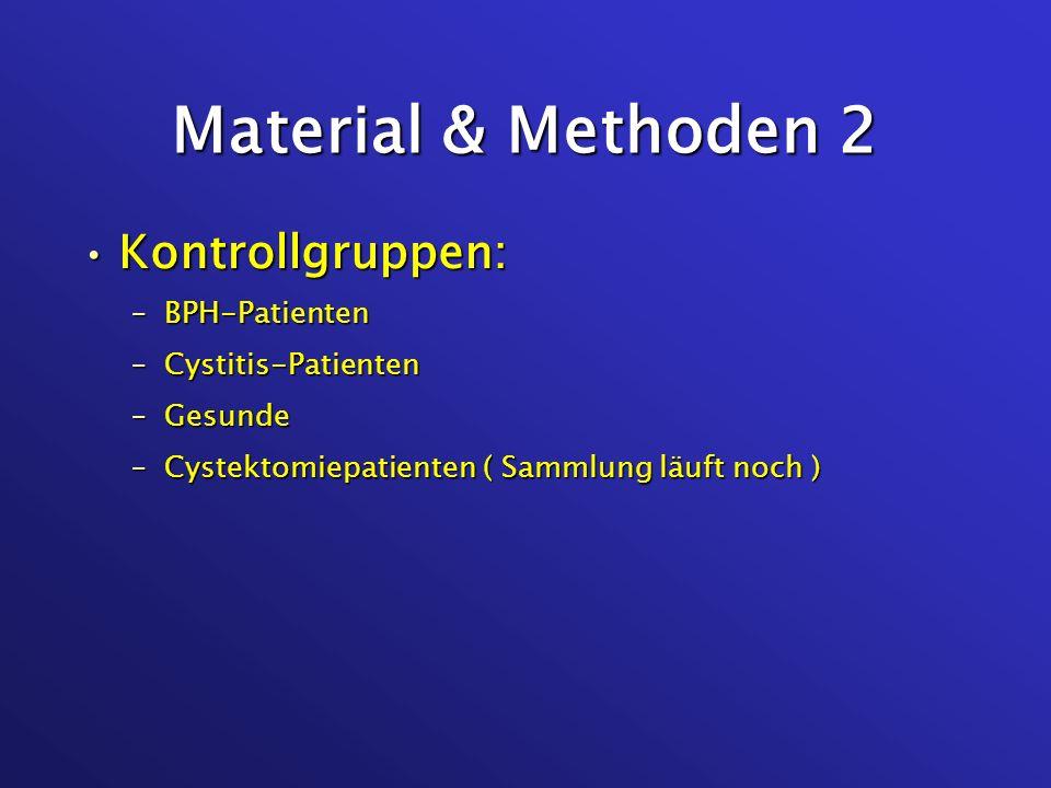 Material & Methoden 2 Kontrollgruppen:Kontrollgruppen: –BPH-Patienten –Cystitis-Patienten –Gesunde –Cystektomiepatienten ( Sammlung läuft noch )