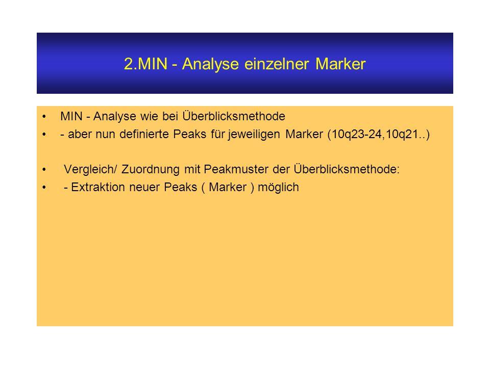 2.MIN - Analyse einzelner Marker MIN - Analyse wie bei Überblicksmethode - aber nun definierte Peaks für jeweiligen Marker (10q23-24,10q21..) Vergleich/ Zuordnung mit Peakmuster der Überblicksmethode: - Extraktion neuer Peaks ( Marker ) möglich