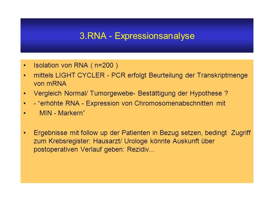 3.RNA - Expressionsanalyse Isolation von RNA ( n=200 ) mittels LIGHT CYCLER - PCR erfolgt Beurteilung der Transkriptmenge von mRNA Vergleich Normal/ Tumorgewebe- Bestättigung der Hypothese .