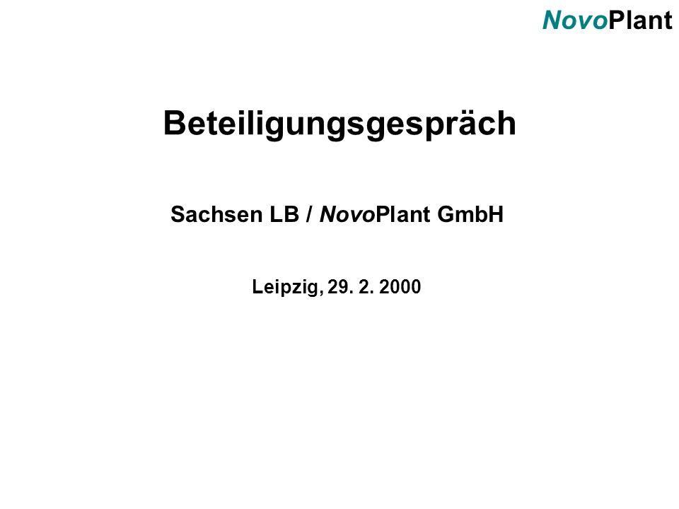 NovoPlant Beteiligungsgespräch Sachsen LB / NovoPlant GmbH Leipzig, 29. 2. 2000