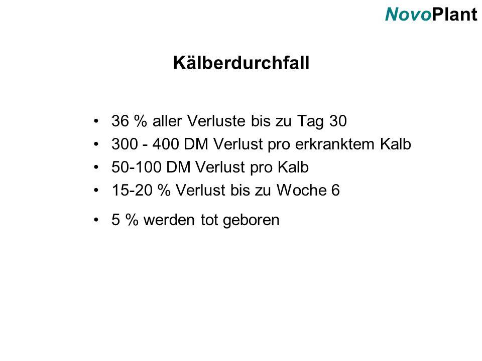 NovoPlant Kälberdurchfall 36 % aller Verluste bis zu Tag 30 300 - 400 DM Verlust pro erkranktem Kalb 50-100 DM Verlust pro Kalb 15-20 % Verlust bis zu