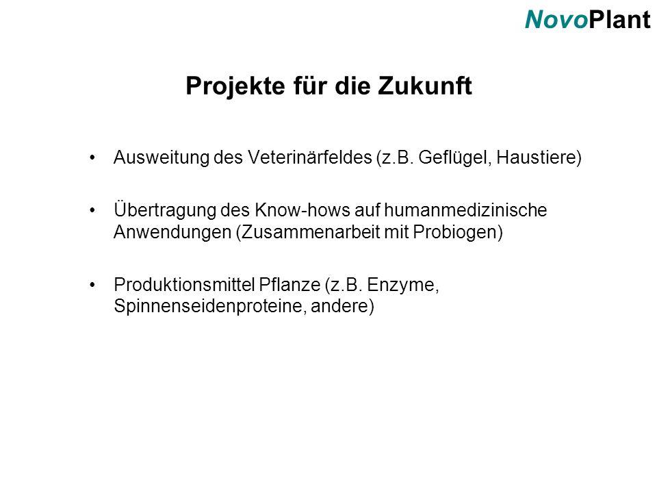 NovoPlant Projekte für die Zukunft Ausweitung des Veterinärfeldes (z.B. Geflügel, Haustiere) Übertragung des Know-hows auf humanmedizinische Anwendung