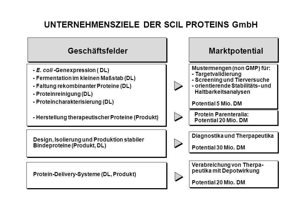 UNTERNEHMENSZIELE DER SCIL PROTEINS GmbH Design, Isolierung und Produktion stabiler Bindeproteine (Produkt, DL) - E.