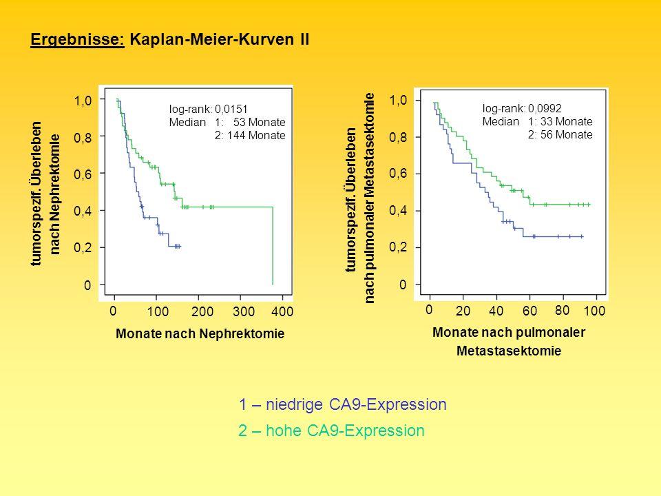 0 0,2 0,4 0,6 0,8 1,0 tumorspezif. Überleben nach pulmonaler Metastasektomie 0 Monate nach pulmonaler Metastasektomie log-rank: 0,0992 Median1: 33 Mon