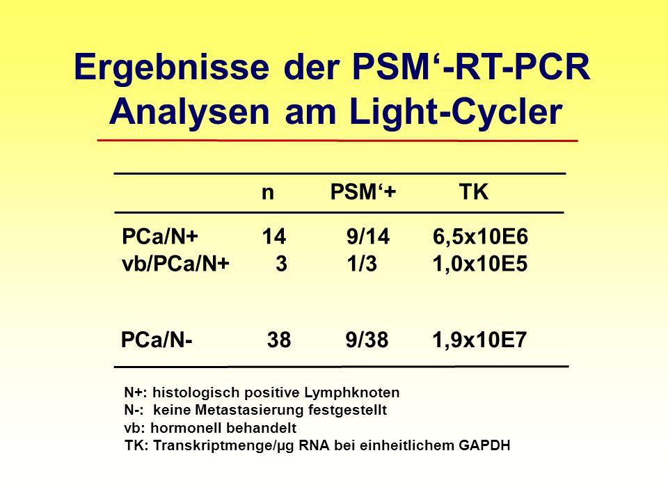 Ergebnisse der PSM-RT-PCR Analysen am Light-Cycler n PSM+ TK PCa/N+ 14 9/14 6,5x10E6 vb/PCa/N+ 3 1/3 1,0x10E5 PCa/N- 38 9/38 1,9x10E7 N+: histologisch positive Lymphknoten N-: keine Metastasierung festgestellt vb: hormonell behandelt TK: Transkriptmenge/µg RNA bei einheitlichem GAPDH