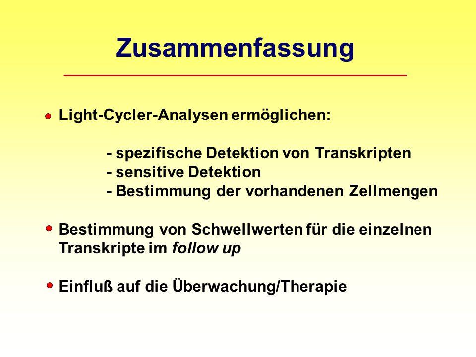 Zusammenfassung Light-Cycler-Analysen ermöglichen: - spezifische Detektion von Transkripten - sensitive Detektion - Bestimmung der vorhandenen Zellmengen Bestimmung von Schwellwerten für die einzelnen Transkripte im follow up Einfluß auf die Überwachung/Therapie