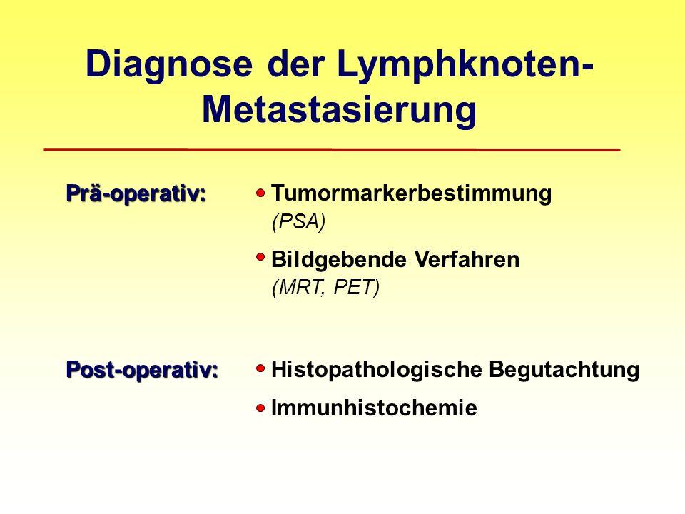 Diagnose der Lymphknoten- Metastasierung Prä-operativ: Prä-operativ:Tumormarkerbestimmung (PSA) Bildgebende Verfahren (MRT, PET) Post-operativ: Post-o