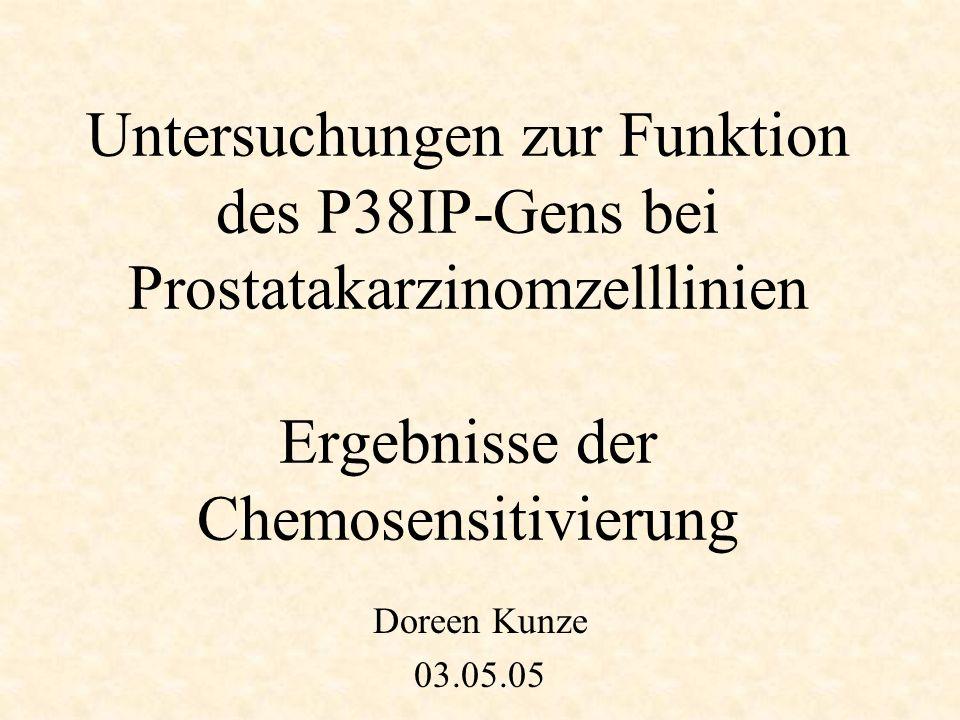 Untersuchungen zur Funktion des P38IP-Gens bei Prostatakarzinomzelllinien Ergebnisse der Chemosensitivierung Doreen Kunze 03.05.05
