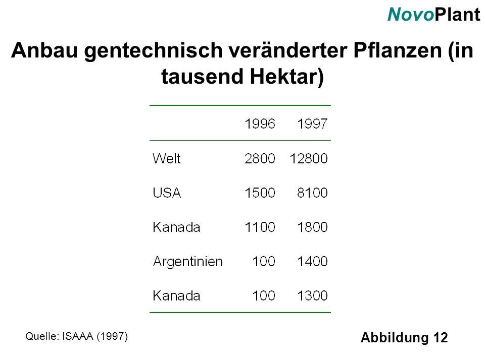 NovoPlant Abbildung 12 Anbau gentechnisch veränderter Pflanzen (in tausend Hektar) Quelle: ISAAA (1997)