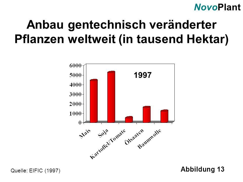 NovoPlant Abbildung 13 Anbau gentechnisch veränderter Pflanzen weltweit (in tausend Hektar) Quelle: EIFIC (1997) 1997