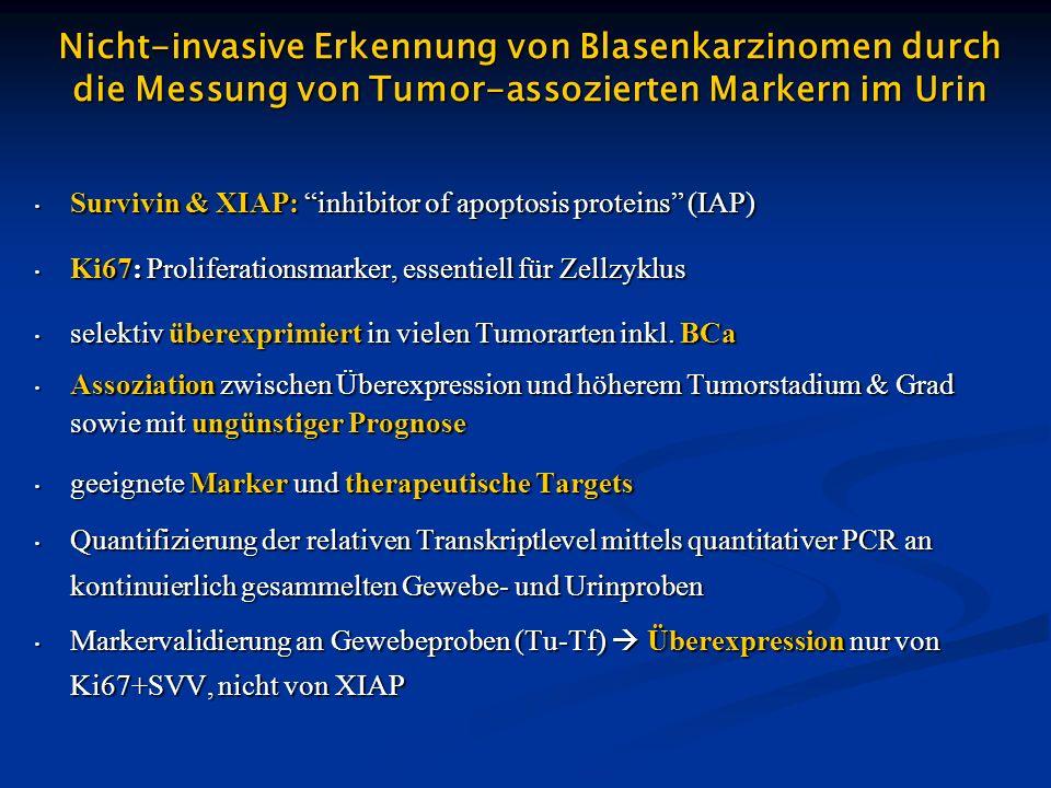 BCa–assozierte Gene im Urin Ki67 möglicherweise geeignet zur Diskrimination Survivin möglicherweise geeignet zur Diskrimination XIAP ungeeignet zur Diskrimination BT = BCa-Patienten vor transurethraler Resektion (TUR-BT) BT = BCa-Patienten vor transurethraler Resektion (TUR-BT) BCa-Patienten vor Cystektomie BCa-Patienten vor Cystektomie NT = Patienten mit histologisch nicht bestätigtem V.a.