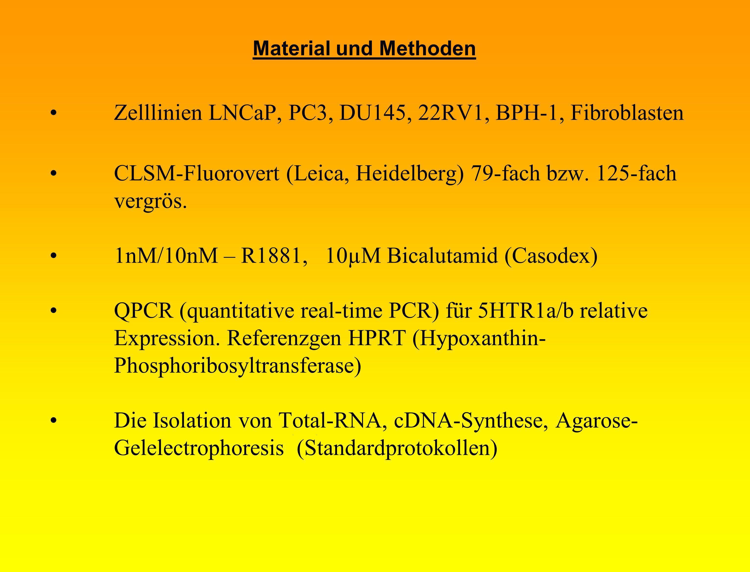 Material und Methoden Zelllinien LNCaP, PC3, DU145, 22RV1, BPH-1, Fibroblasten CLSM-Fluorovert (Leica, Heidelberg) 79-fach bzw. 125-fach vergrös. 1nM/