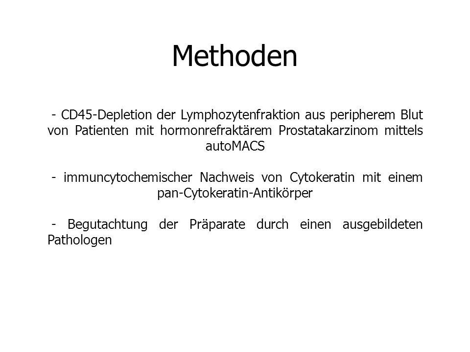 Methoden - CD45-Depletion der Lymphozytenfraktion aus peripherem Blut von Patienten mit hormonrefraktärem Prostatakarzinom mittels autoMACS - immuncytochemischer Nachweis von Cytokeratin mit einem pan-Cytokeratin-Antikörper - Begutachtung der Präparate durch einen ausgebildeten Pathologen