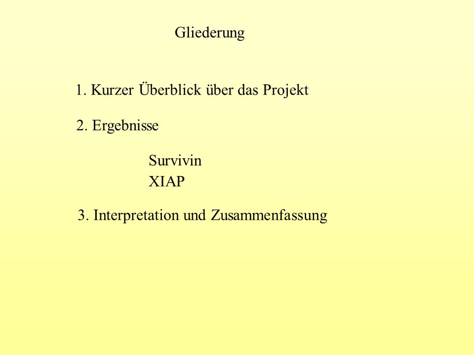 Gliederung 1. Kurzer Überblick über das Projekt 2. Ergebnisse Survivin XIAP 3. Interpretation und Zusammenfassung