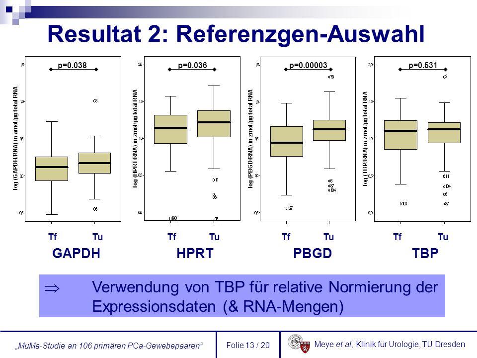 Meye et al, Klinik für Urologie, TU Dresden MuMa-Studie an 106 primären PCa-Gewebepaaren Folie 13 / 20 p=0.038p=0.036p=0.00003p=0.531 GAPDH HPRT PBGD