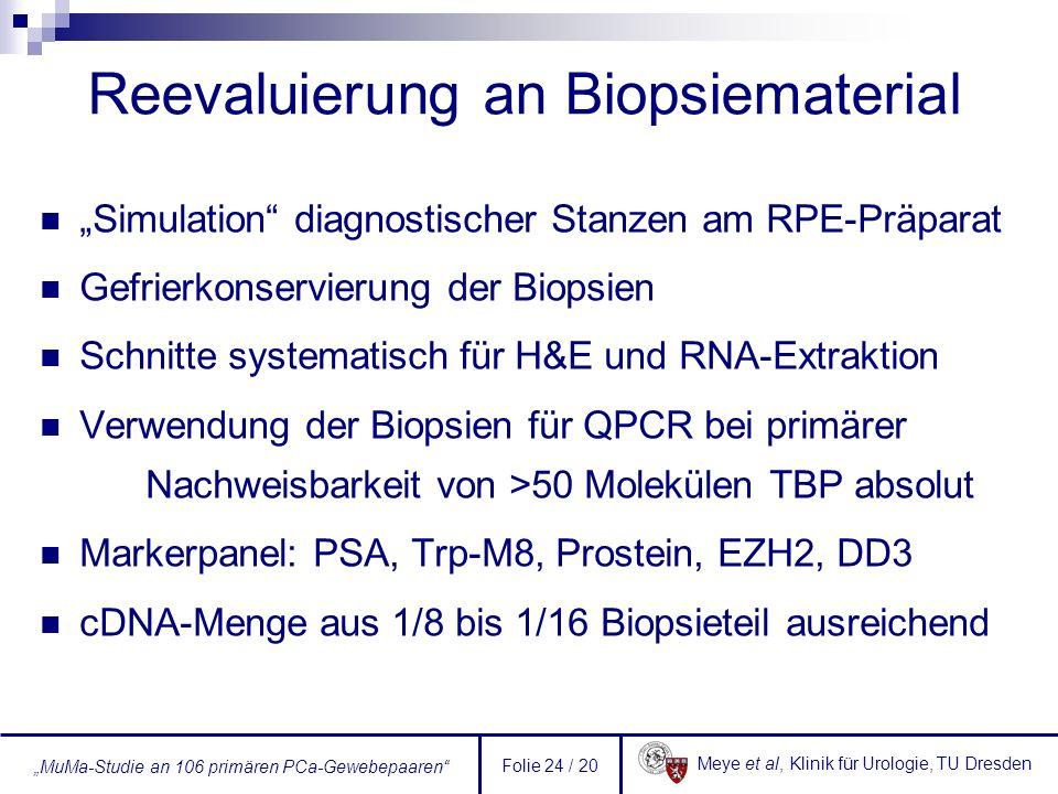 Meye et al, Klinik für Urologie, TU Dresden MuMa-Studie an 106 primären PCa-Gewebepaaren Folie 24 / 20 Reevaluierung an Biopsiematerial Simulation dia