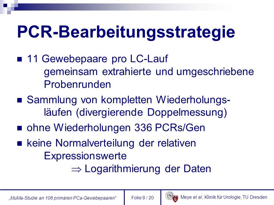 Meye et al, Klinik für Urologie, TU Dresden MuMa-Studie an 106 primären PCa-Gewebepaaren Folie 9 / 20 PCR-Bearbeitungsstrategie 11 Gewebepaare pro LC-