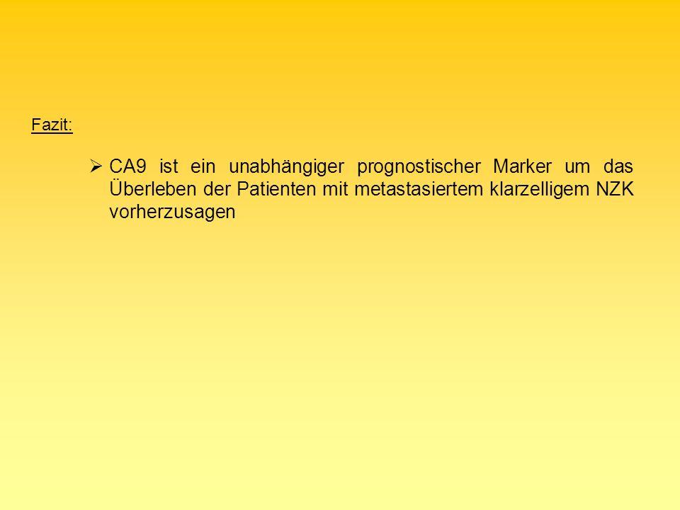 Fazit: CA9 ist ein unabhängiger prognostischer Marker um das Überleben der Patienten mit metastasiertem klarzelligem NZK vorherzusagen