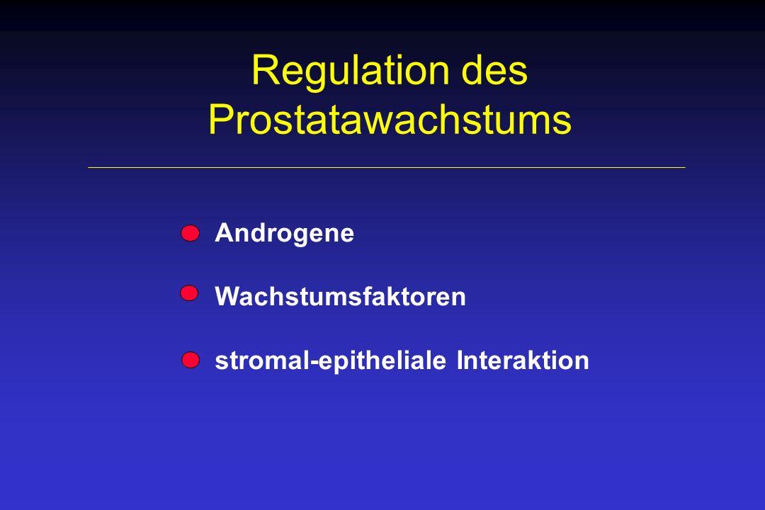 Genexpression in der Prostata ZK Testosteron (T) T Dihydrotesto- steron (DHT) HRE 5- Re- duktase DHT EGF, KGF AR Epithelzelle RE Gen Promotor TGF- + -