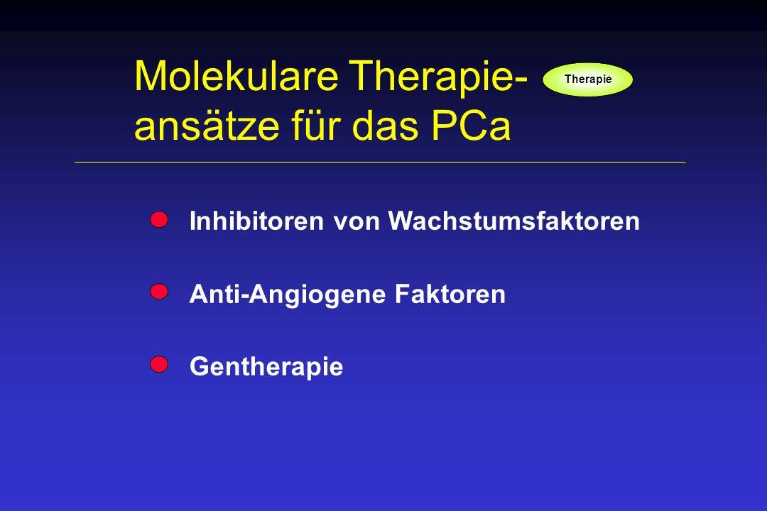 Molekulare Therapie- ansätze für das PCa Inhibitoren von Wachstumsfaktoren Anti-Angiogene Faktoren Gentherapie Therapie