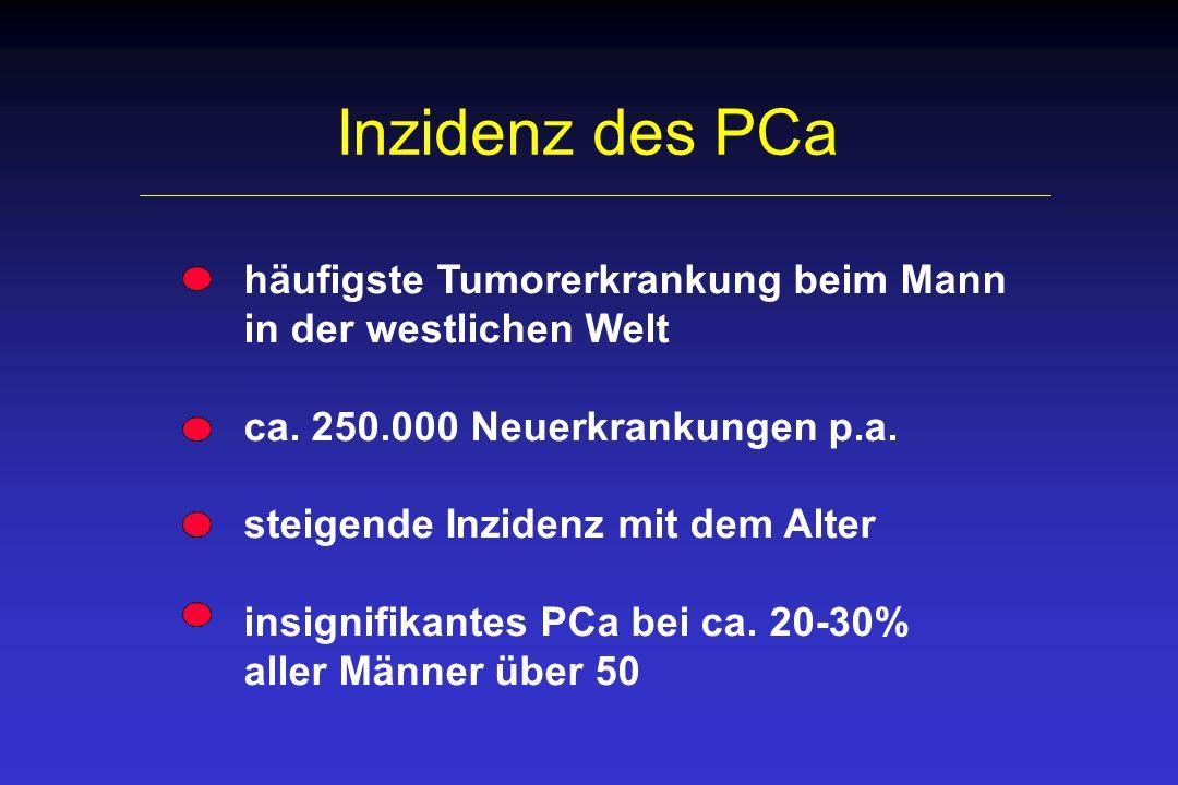 PCa - Tumorstadien Stadium 5-Jahres- Überlebensrate lokal begrenzt 99,1% (T1/T2) lokal fortgeschritten 93,6 % (T3/T4) metastasierend 30,7% (N1, M1)