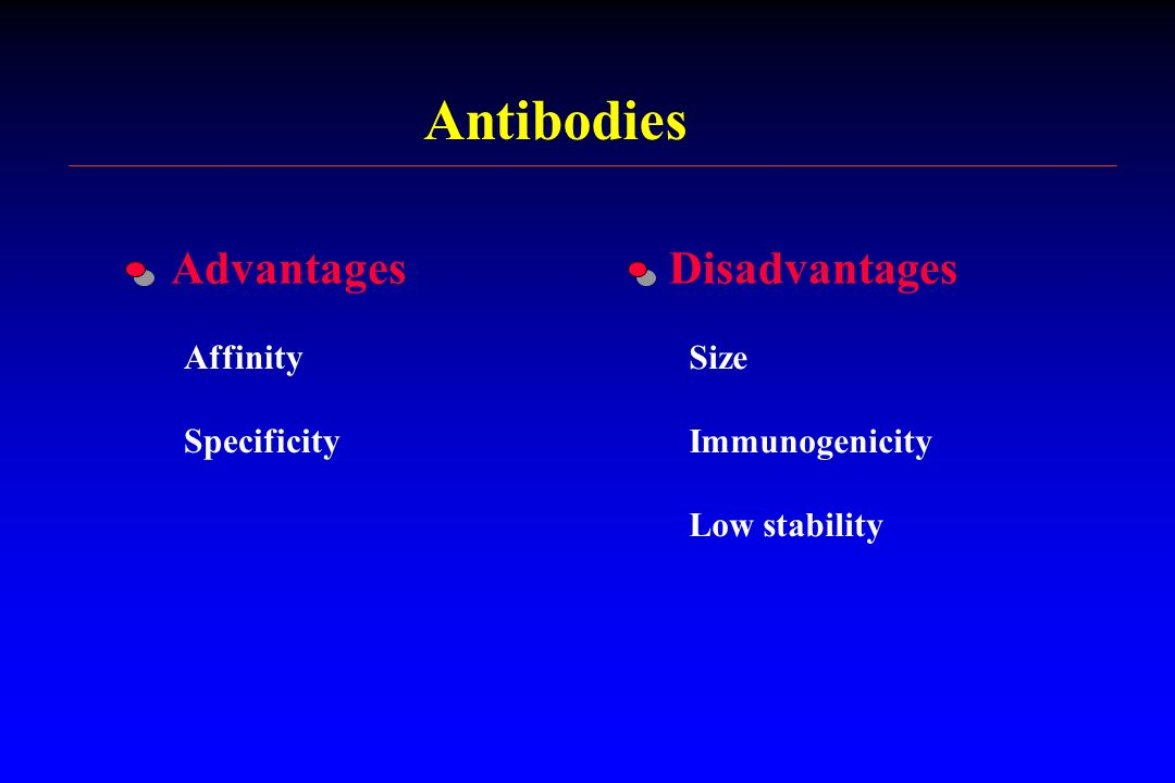 Antibodies Affinity Specificity Size Immunogenicity Low stability AdvantagesDisadvantages
