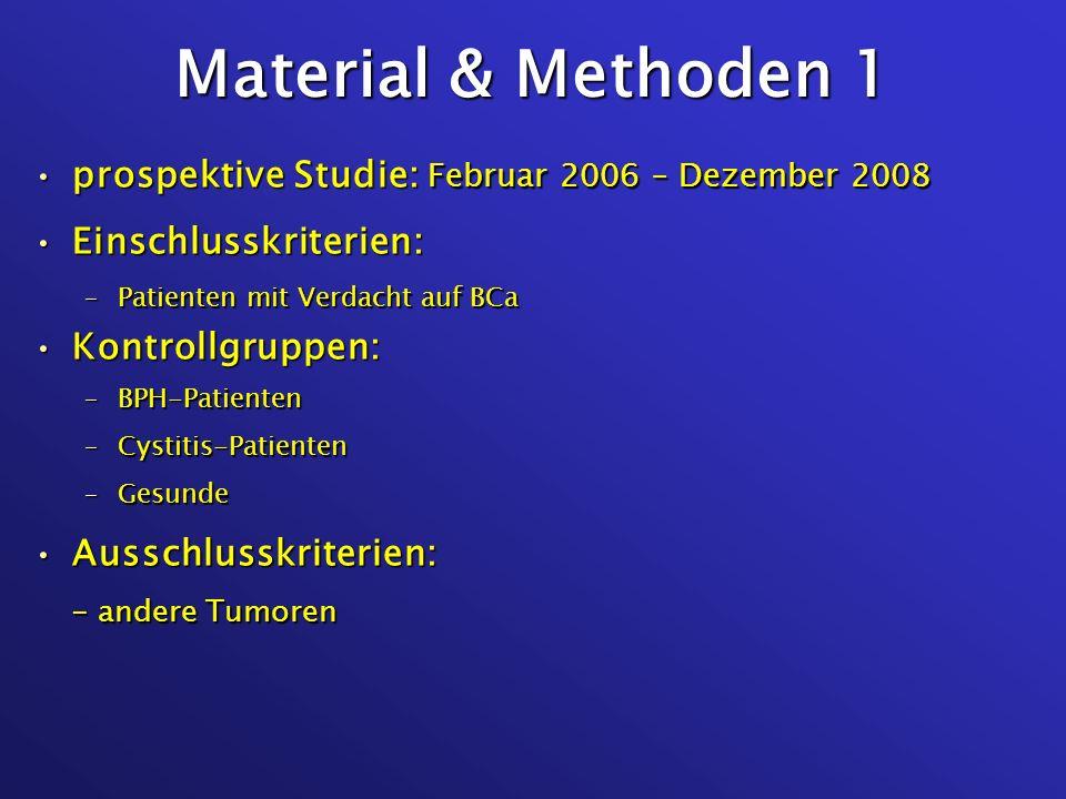 Material & Methoden 1 prospektive Studie: Februar 2006 – Dezember 2008prospektive Studie: Februar 2006 – Dezember 2008 Einschlusskriterien:Einschlussk