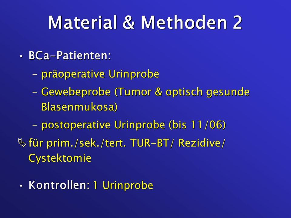 Material & Methoden 2 BCa-Patienten:BCa-Patienten: –präoperative Urinprobe –Gewebeprobe (Tumor & optisch gesunde Blasenmukosa) –postoperative Urinprob