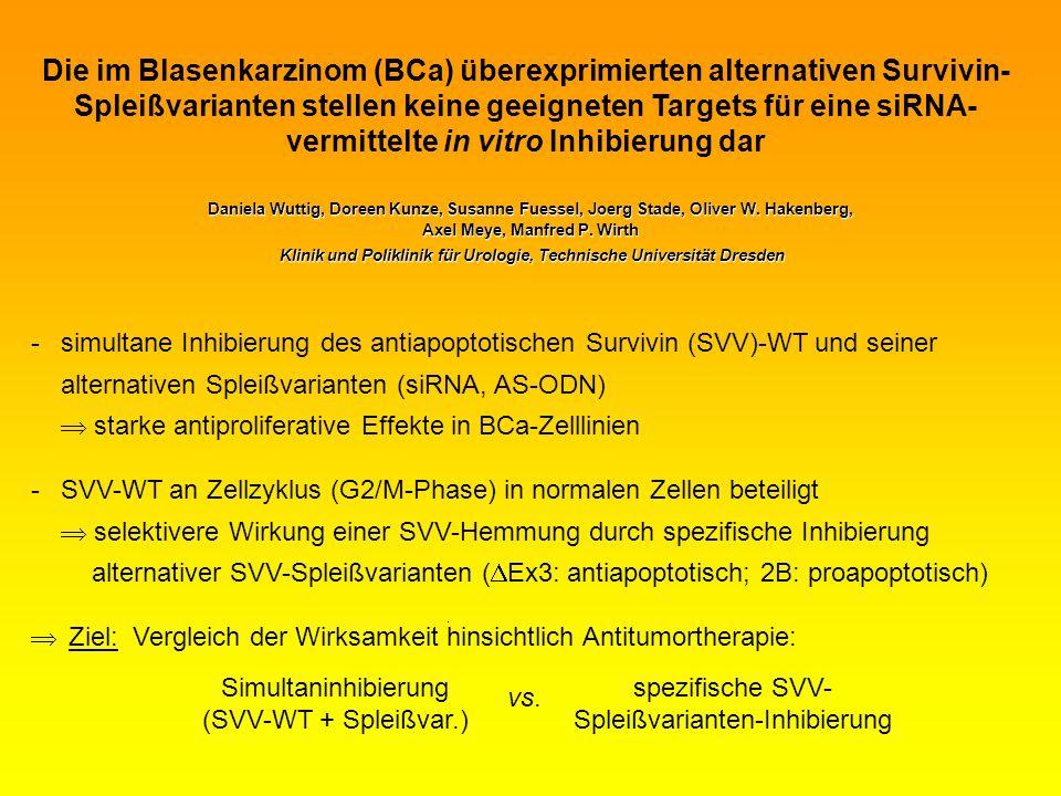 Daniela Wuttig, Doreen Kunze, Susanne Fuessel, Joerg Stade, Oliver W. Hakenberg, Axel Meye, Manfred P. Wirth Klinik und Poliklinik für Urologie, Techn