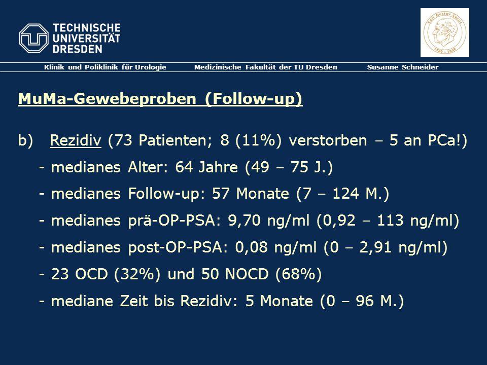 Klinik und Poliklinik für Urologie Medizinische Fakultät der TU Dresden Susanne Schneider MuMa-Gewebeproben (Follow-up) b) Rezidiv (73 Patienten; 8 (1