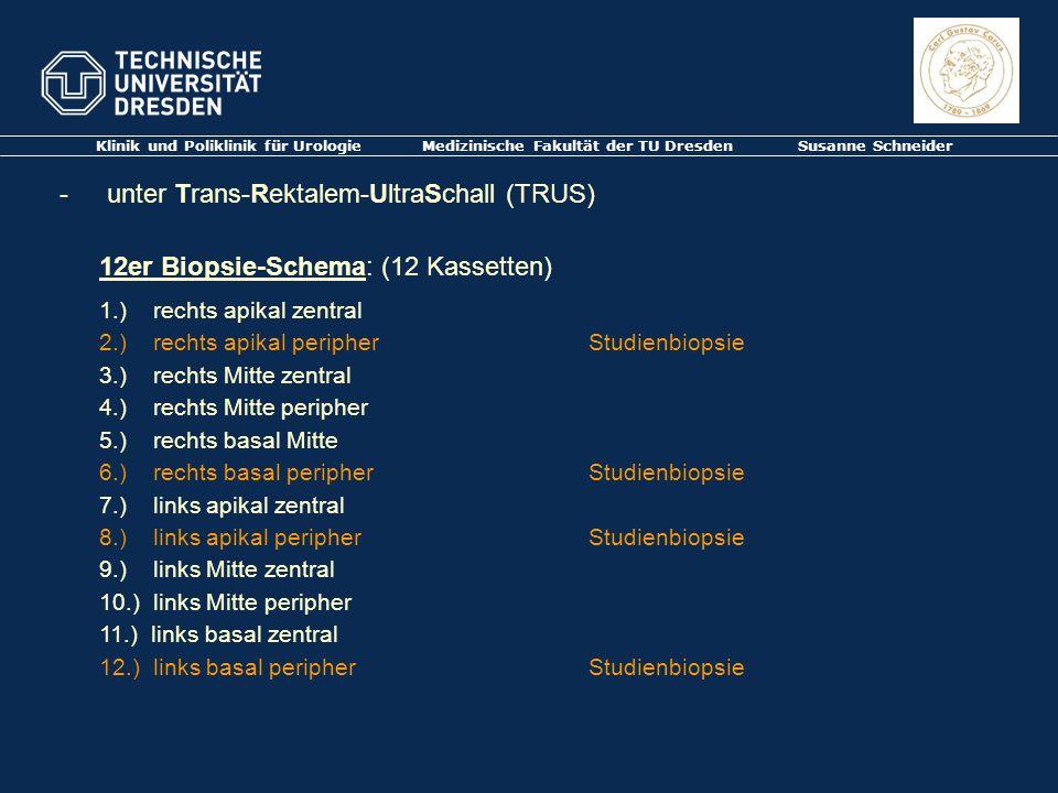 Klinik und Poliklinik für Urologie Medizinische Fakultät der TU Dresden Susanne Schneider - unter Trans-Rektalem-UltraSchall (TRUS) 12er Biopsie-Schem