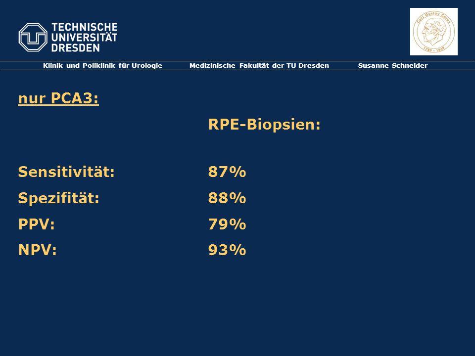 Klinik und Poliklinik für Urologie Medizinische Fakultät der TU Dresden Susanne Schneider nur PCA3: RPE-Biopsien: Sensitivität: 87% Spezifität: 88% PP