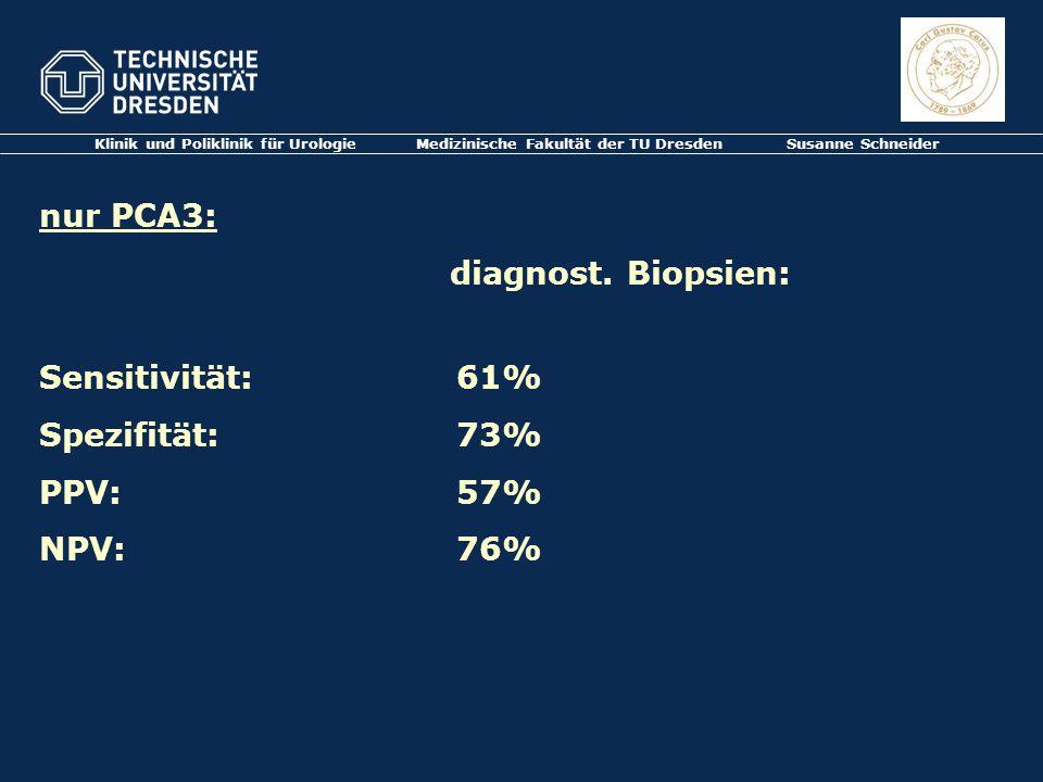 Klinik und Poliklinik für Urologie Medizinische Fakultät der TU Dresden Susanne Schneider nur PCA3: diagnost. Biopsien: Sensitivität: 61% Spezifität: