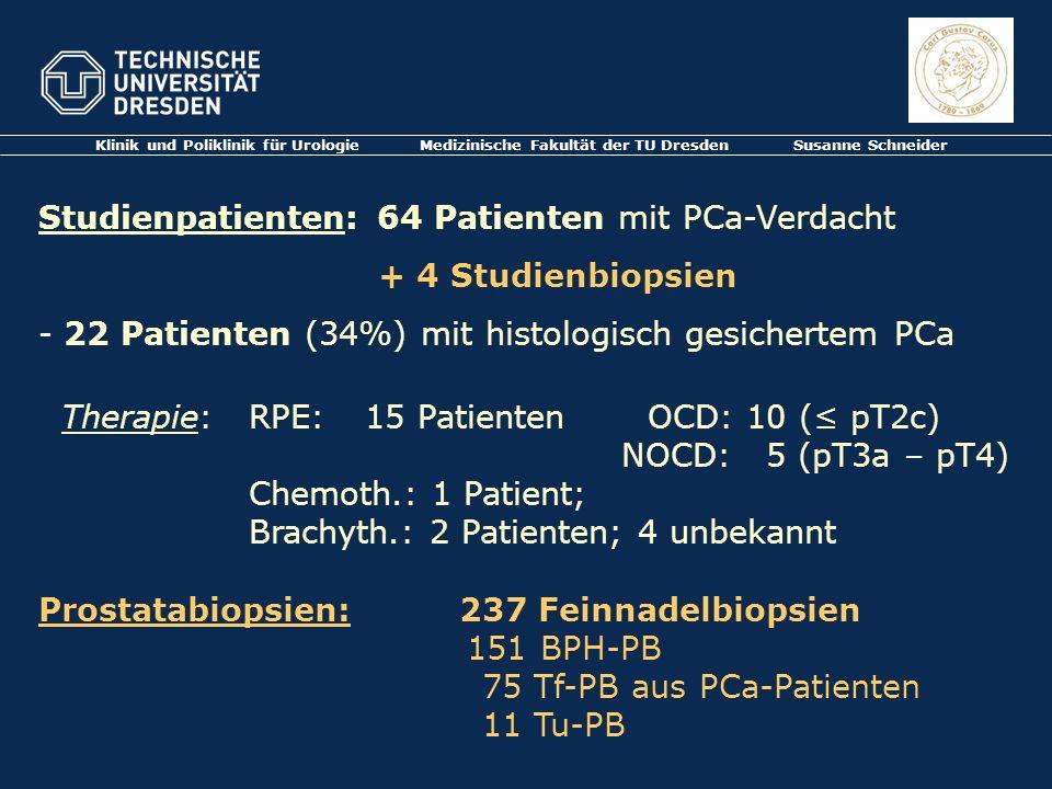 Klinik und Poliklinik für Urologie Medizinische Fakultät der TU Dresden Susanne Schneider Studienpatienten: 64 Patienten mit PCa-Verdacht + 4 Studienb