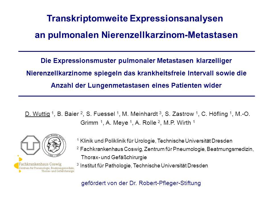 Die Expressionsmuster pulmonaler Metastasen klarzelliger Nierenzellkarzinome spiegeln das krankheitsfreie Intervall sowie die Anzahl der Lungenmetasta