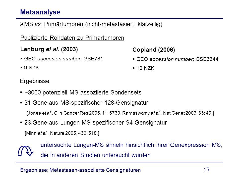 15 Metaanalyse MS vs. Primärtumoren (nicht-metastasiert, klarzellig) Publizierte Rohdaten zu Primärtumoren Lenburg et al. (2003) GEO accession number: