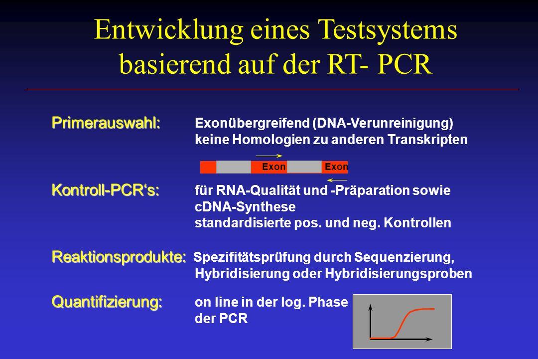 Entwicklung eines Testsystems basierend auf der RT- PCR Primerauswahl: Primerauswahl: Exonübergreifend (DNA-Verunreinigung) keine Homologien zu andere