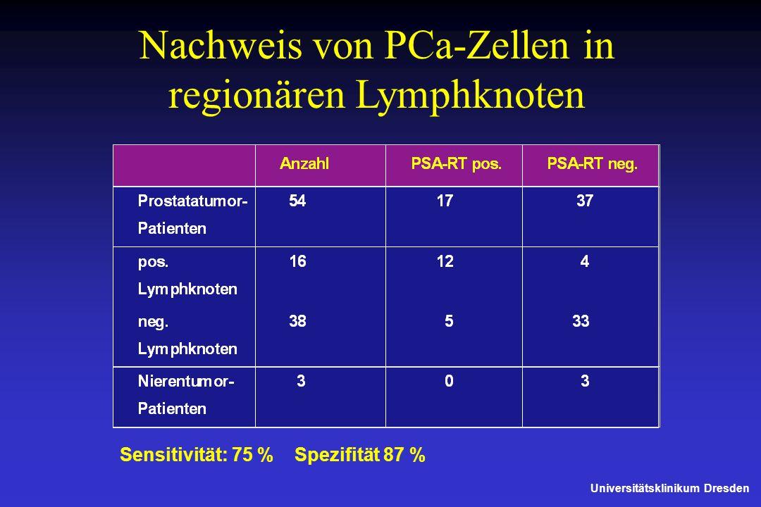 Nachweis von PCa-Zellen in regionären Lymphknoten Universitätsklinikum Dresden Sensitivität: 75 %Spezifität 87 %