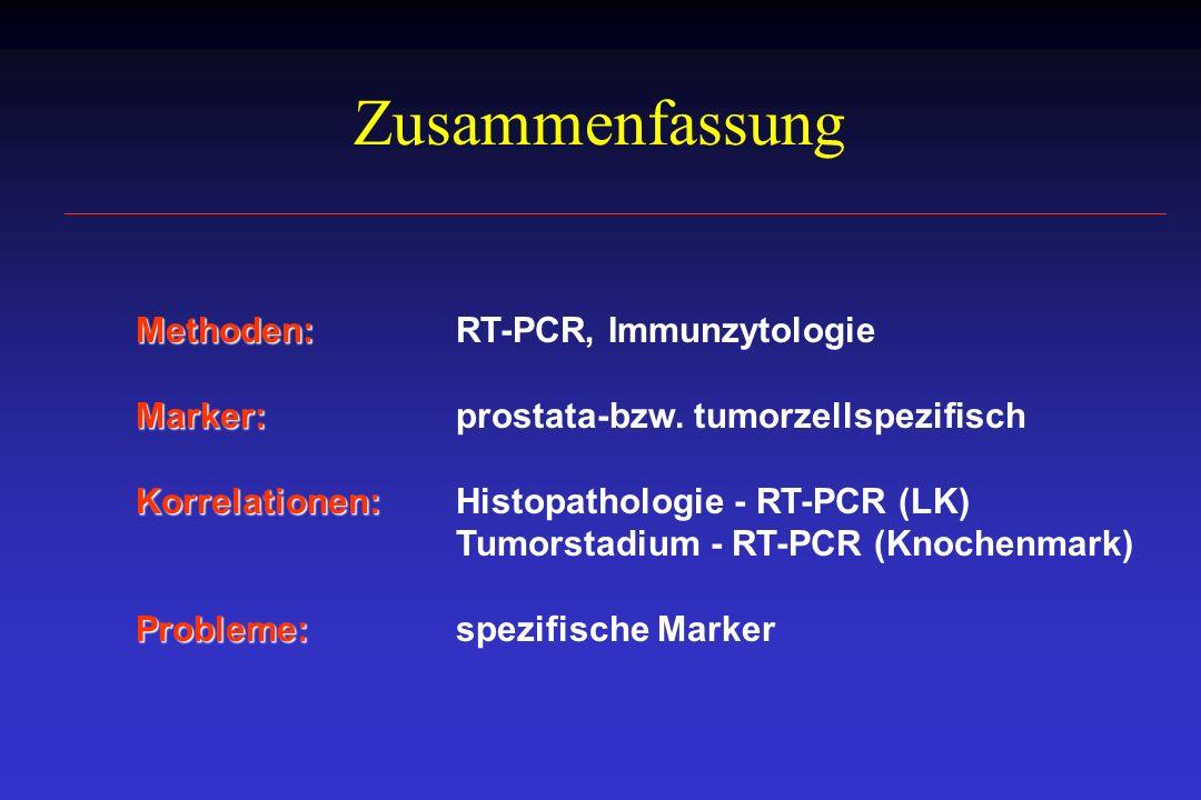 Zusammenfassung Methoden: Methoden: RT-PCR, Immunzytologie Marker: Marker:prostata-bzw. tumorzellspezifisch Korrelationen: Korrelationen: Histopatholo