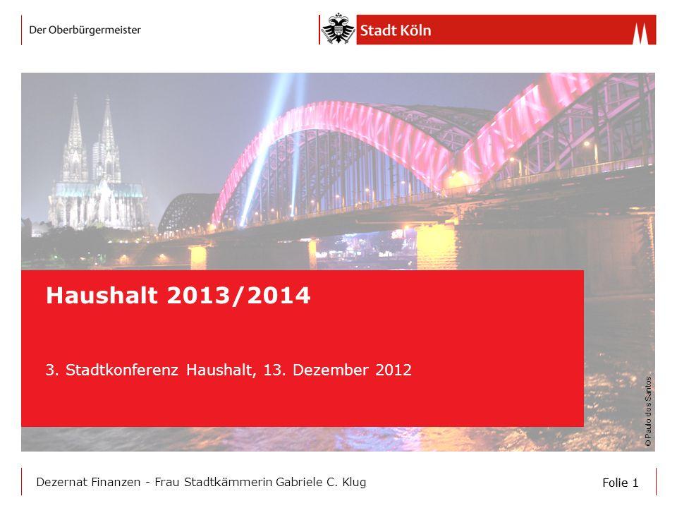 Folie 1 Dezernat Finanzen - Frau Stadtkämmerin Gabriele C. Klug Haushalt 2013/2014 3. Stadtkonferenz Haushalt, 13. Dezember 2012 © Paulo dos Santos