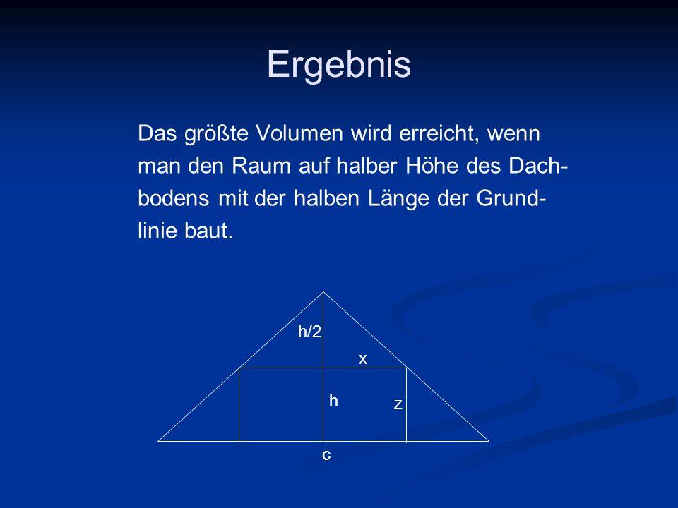 Ergebnis Das größte Volumen wird erreicht, wenn man den Raum auf halber Höhe des Dach- bodens mit der halben Länge der Grund- linie baut. z c h/2 x h