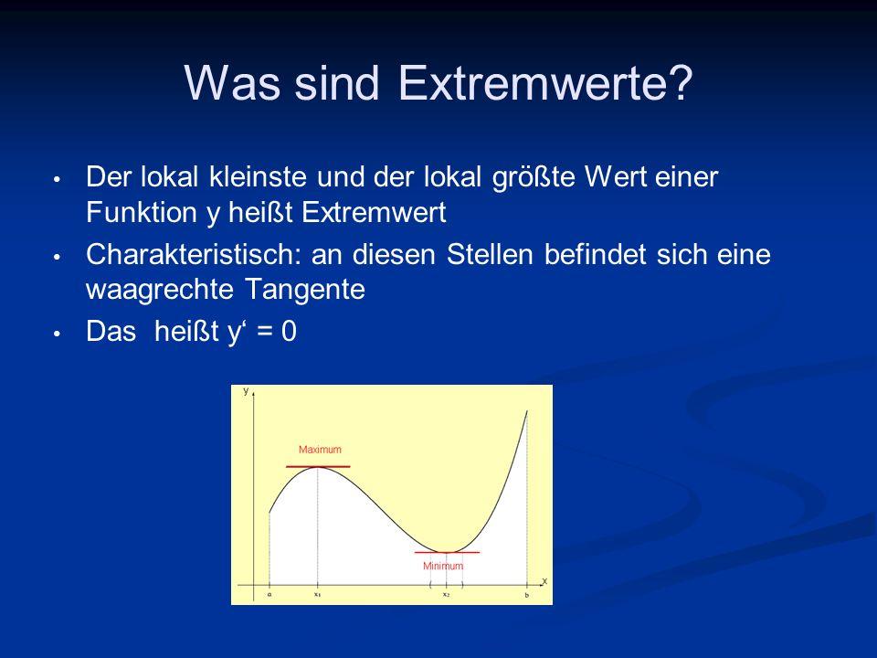 Was sind Extremwerte? Der lokal kleinste und der lokal größte Wert einer Funktion y heißt Extremwert Charakteristisch: an diesen Stellen befindet sich