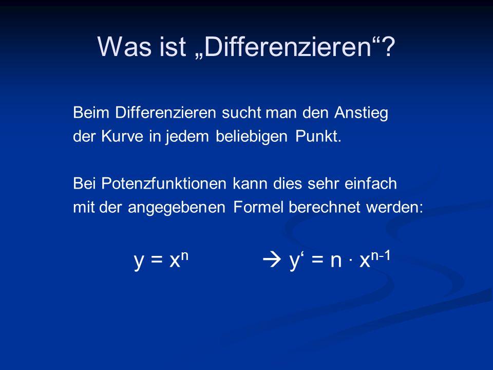 Was ist Differenzieren? Beim Differenzieren sucht man den Anstieg der Kurve in jedem beliebigen Punkt. Bei Potenzfunktionen kann dies sehr einfach mit