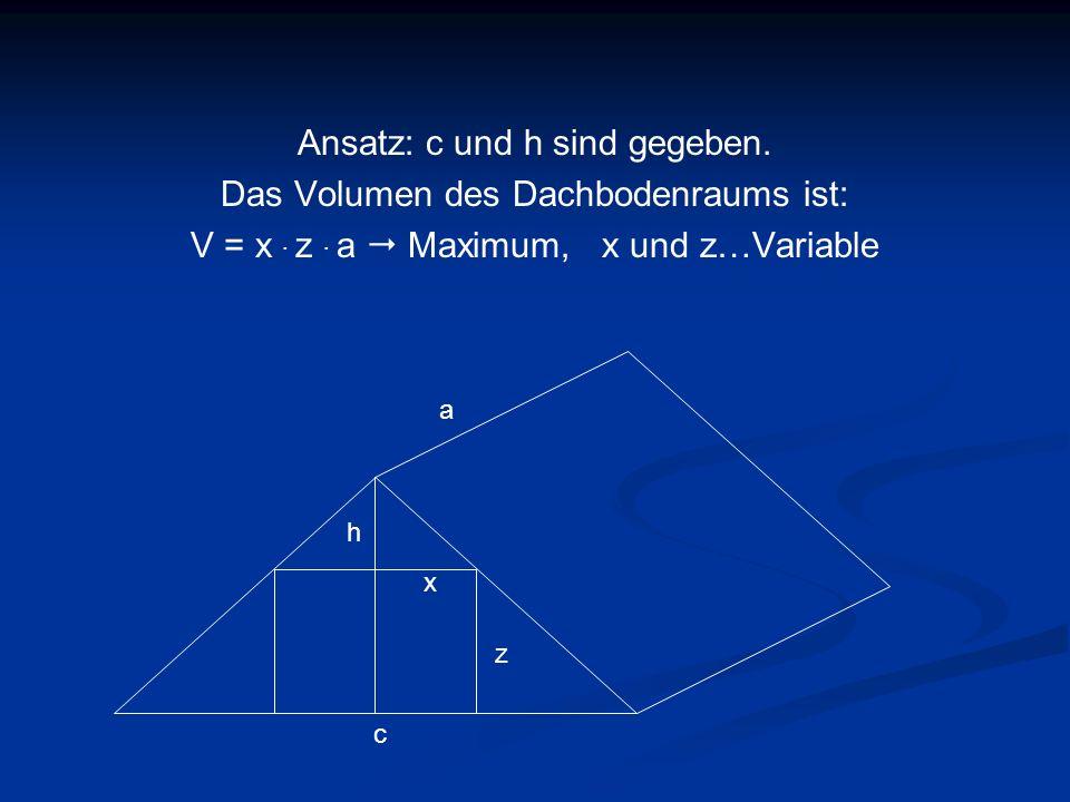 Ansatz: c und h sind gegeben. Das Volumen des Dachbodenraums ist: V = x. z. a Maximum, x und z…Variable z c h x a